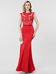Mermaid / Trumpet Jewel Neck Floor Length Lace Jersey Formal Evening Dress with Beading Appliques by TS Couture®