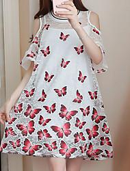 Для женщин На выход На каждый день Вечеринка/коктейль Простое Богемный Шинуазери (китайский стиль) Свободный силуэт ПлатьеЦветочный принт