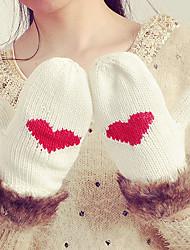 Feminino Casual Luvas de Inverno Mantenha Quente Roupa de Malha Fashion Pêlo de Coelho Acrílico Tricô Inverno Até o Pulso Ponta dos Dedos,