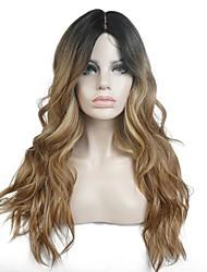 Mujer Pelucas sintéticas Encaje Frontal Largo Rizado Marrón Claro Raya en medio 100% kanekalon pelo Pelo Ombre Raíces oscuras Peluca