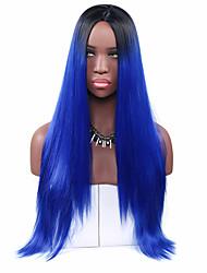 Mujer Pelucas sintéticas Sin Tapa Largo Liso Azul Real Peluca de cosplay Peluca natural Peluca lolita Peluca de fiesta Peluca de