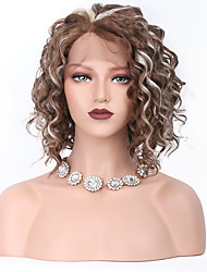 Women Synthetic Wig Lace Front Short Curly Brown/White Middle Part Sew in 100% kanekalon hair With Baby Hair Natural Wigs Costume Wig