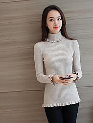 Women's Casual/Daily Simple Regular Cardigan,Solid Turtleneck Long Sleeves Others Fall Winter Medium Micro-elastic