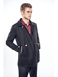 Men's Going out Casual/Daily Simple Winter Trench Coat,Solid Notch Lapel Long Sleeve Long Cotton