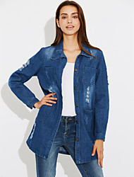 Women's Daily Simple Spring Fall Denim Jacket,Solid Shirt Collar Long Sleeve Long Polyester