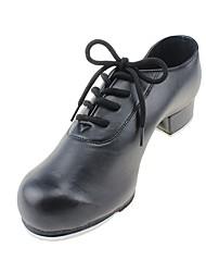 Kids' Tap Leatherette Heel Performance Chunky Heel Black