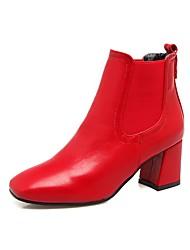 Feminino Sapatos Couro Ecológico Outono Inverno Conforto Botas Salto Grosso Ponta quadrada Ziper Para Preto Verde Tropa Vermelho