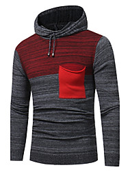 Men's Casual/Daily Simple Long Pullover,Color Block Hooded Long Sleeves Cotton Spring Winter Medium Micro-elastic