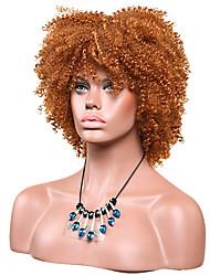 Mujer Pelucas sintéticas Sin Tapa Corto Afro Rizos Jheri castaño medio Peluca afroamericana Para mujeres de color Peluca de fiesta Peluca