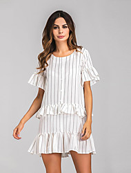 Women's Casual/Daily Street chic Loose Dress,Striped Round Neck Above Knee Short Sleeves Cotton Spring Summer High Rise Inelastic Sheer