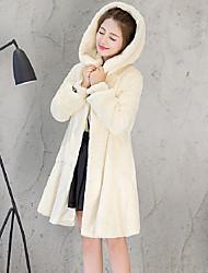 Для женщин На выход На каждый день Осень Зима Пальто с мехом Капюшон,Простой Однотонный Длинная Длинный рукав,Искусственный мех