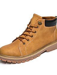 Herren Schuhe Kunstleder Herbst Winter Pelzfutter Stiefel Booties / Stiefeletten Schnürsenkel Für Normal Grau Gelb Khaki