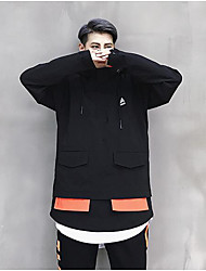 Men's Going out Street chic Fall Jacket,Solid Hooded Long Sleeve Regular Nylon