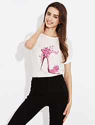 Women's Casual/Daily Simple Summer Fall Blouse,Print Round Neck Short Sleeve Silk Cotton Opaque