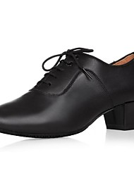 """Men's Latin Real Leather Oxford Indoor Chunky Heel Black 1"""" - 1 3/4"""""""