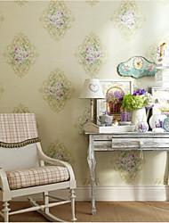 Цветочный принт Обои Для дома Классика Облицовка стен , Чистая бумага материал Клей требуется обои , Обои для дома