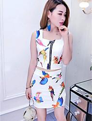 Damen Druck Einfach Lässig/Alltäglich Muskelshirt Rock Anzüge,Gurt Sommer Ärmellos Mikro-elastisch