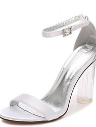 Mujer Zapatos de boda Tira en T Pump Básico Tira en el Tobillo Zapato transparente Primavera Verano Satén Boda Vestido Fiesta y Noche