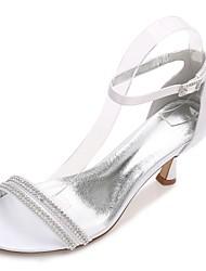 Damen Schuhe Satin Frühling Sommer Komfort D'Orsay und Zweiteiler Pumps Knöchelriemen Hochzeit Schuhe Niedriger Absatz Kitten Heel-Absatz