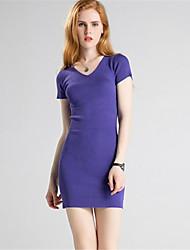 Для женщин На каждый день Простое Оболочка Трикотаж Платье Однотонный,V-образный вырез Выше колена С короткими рукавами Шерсть Полиэстер