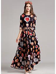Dámské Jdeme ven Pouzdro Šaty Tisk,Poloviční rukáv Kulatý Maxi Polyester Podzim Mid Rise Lehce elastické Střední
