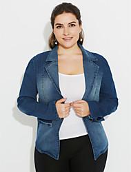 Women's Casual Denim Lapel Long Sleeve Jacket Outwear Plus Sizes