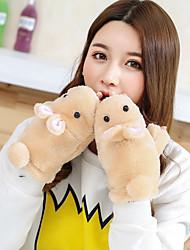 Для женщин На каждый день Мультяшная тематика Зимние перчатки Сохраняет тепло Милый Мода До запястья Полупальцами,Осень Зима Шерсть Хлопок