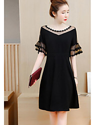 Women's Casual/Daily A Line Dress,Solid Round Neck Above Knee Short Sleeves Cotton Summer Mid Rise Micro-elastic Thin