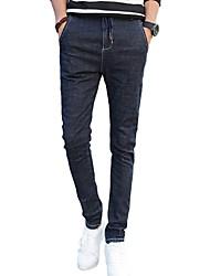 Men's Mid Rise Micro-elastic Skinny Jeans PantsSimple Slim Solid WL-8173