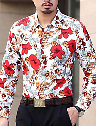 Men's Party Casual/Daily Simple Spring Fall Shirt,Floral Shirt Collar Long Sleeves Cotton Polyester Medium