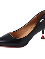 Damen Schuhe PU Frühling Sommer Pumps High Heels Kitten Heel-Absatz Runde Zehe Für Kleid Schwarz Beige Gelb
