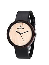 Mujer Reloj de Moda Reloj Madera Japonés Cuarzo de madera Cuero Auténtico Banda Encanto Minimalista Elegantes Negro