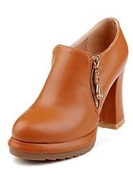 Damen Schuhe Kunstleder Herbst Winter Pumps High Heels Blockabsatz Runde Zehe Booties / Stiefeletten Reißverschluss Für Kleid Schwarz Gelb