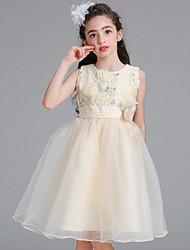 принцесса колено длина цветок девушка платье - атласная сетка без рукавов жемчужина шеи с блестками by baihe