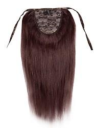 16 женщин новый зажим-в шнурке -ponytail шелк прямой рост человеческих волос 100g