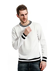 Men's Going out Casual/Daily Simple Sweatshirt Solid Striped Round Neck Micro-elastic Cotton Long Sleeve Fall Winter