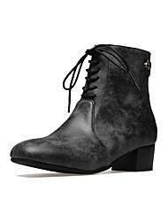 Feminino Sapatos Sintético Outono Inverno Conforto Botas Salto Grosso Ponta quadrada Ziper Cadarço Para Preto Verde Tropa Khaki