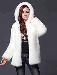 Women's Plus Size Casual/Daily Simple Street chic Winter Fur CoatSolid Hooded Long Sleeve Long Polyester Fur Trim