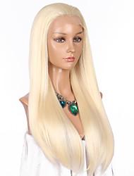 Mujer Pelucas sintéticas Encaje Frontal Largo Liso Blonde Entradas Naturales Peluca natural Peluca de celebridades Pelucas para Disfraz
