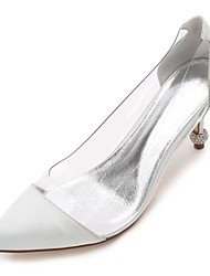 Women's Wedding Shoes Basic Pump Novelty Ankle Strap Transparent Shoes Spring Summer PVC Leather Satin Wedding Party & Evening Dress