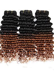 3pcs / 300g 12-24 pouces en bronze brésilien vierge non transformé humain cheveux bouclés profondes deux tons 1b / 30 # ombre cheveux