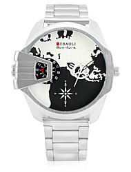 JUBAOLI Homens Relógio Esportivo Relógio de Moda Relógio de Pulso Chinês Quartzo Calendário Dois Fusos Horários Mostrador Grande Aço