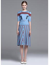 Dámské Tisk Jdeme ven Roztomilý Trička Sukně Obleky-Podzim Kulatý Poloviční rukáv Mikro elastické