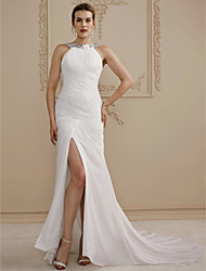 Sheath / Column Jewel Neck Court Train Chiffon Wedding Dress with Split Front Side-Draped by LAN TING BRIDE®