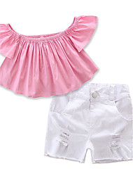 Girls' Solid SetsCotton Polyester Summer Short Pant Clothing Set