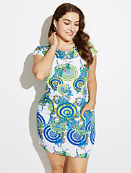 Brand Fashion  Women's Vintage / Casual / Day Floral Plus Size / Sheath Dress , Round Neck Knee-length