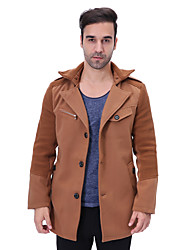 Men's Plus Size Casual/Daily Simple Fall Winter Trench Coat,Solid Peaked Lapel Long Sleeve Regular Cotton Polyester