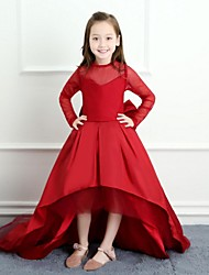 Ball Gown Asymmetrical Flower Girl Dress - Satin Tulle Long Sleeves Crew Neck with Bow(s) by Yiranmei
