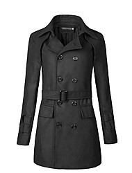 Men's Plus Size Casual/Daily Vintage Street chic Fall Winter Trench Coat,Solid Notch Lapel Long Sleeve Regular Polyester