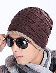 Для взрослых европейский Вязаная шапочка,Осень Зима Смесь шерсти Однотонный Чистый цвет
